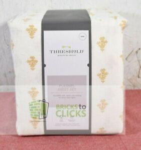 Threshold-Printed Flannel Sheet Set, Gold Flower, King