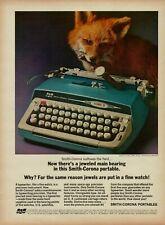 1964 SCM Smith-Corona Galaxie II Blue Typewriter Tiffany & Co Watch Fox Print Ad
