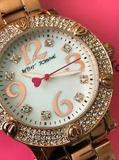 Betsey Johnson XOX Boyfriend Rose Gold Tone Pearl Dial Crystal Watch BJ00229-05