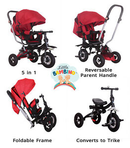 5 in 1 Kids Trike Unisex Push Along Tricycle Children Baby  3 Wheel Toddler Red