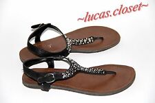 Candie's size 6 women's studded  flat sandals brown black