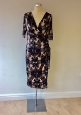 MARKS & SPENCER AUTOGRAPH BLACK,GREY PINK PRINT WRAP ACROSS DRESS SIZE 16