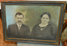 """Antique Large Framed Man and Woman with Low Color Background 22-1/2"""" x 16-1/2"""""""