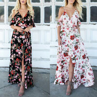 Women Summer Beach Split V-Neck Short Sleeve Maxi Dress Holiday Long Sundress UK