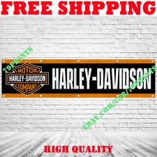 Harley Davidson Motorcycles Logo Banner Flag 2x8ft Show Garage Wall Decor Sign