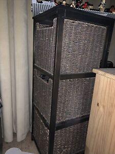 Black Brown Storage Unit With Baskets