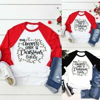 Christmas Women Girl Long Sleeve Elk Print T-shirt Casual Pullover Blouse Top US