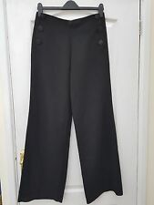 LAURA CLEMENT BLACK SMART BUTTON FRONT DOUBLE BREASTED BIB TAILORED WIDE TROUSER