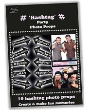 10 x Hen Or Stag NIGHT Party Bride to be Fun Game # HASHTAG Photo Booth Props