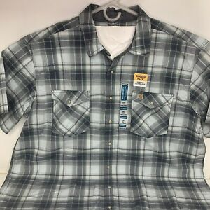Carhartt Short Sleeve Plaid Shirt Men's Sz 3XL Tall Pearl Snaps - New with Tags!
