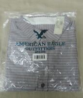 NWT Mens American Eagle striped button front shirt long sleeve XL Prep Fit NEW