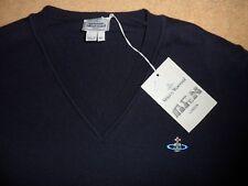 NEW VIVIENNE WESTWOOD NAVY BLUE 100% WOOL FINE KNIT V NECK ORB JUMPER SWEATER XL