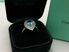 Tiffany & Co. PT950 Soleste Platinum Diamond & Aquamarine Pear Shape Ring 6.5