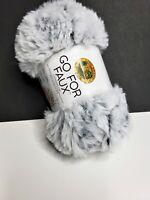 Faux Fur Yarn Skein Chinchilla White/Gray Lion Brand 65 Yds Polyester #6 Bulky