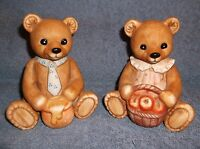 2 HOMCO CERAMIC BEAR FIGURINES #1405 - BEAR W/ HONEY JAR - BEAR W/ APPLE BASKET