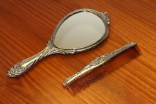 Antique 2 Piece Victorian Style Silver Plate Floral Vanity Set Mirror & Comb