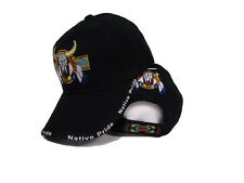 Bull Skull Buffalo Indian Native Pride Black Embroidered Ball Cap Hat