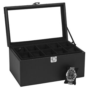Black 20 Slots Watch Box Display Case Organiser Women Men Jewellery Storage Gift