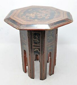 Antique Wooden Octagonal Folding Table Original Old Hand Crafted Lacquer Painted