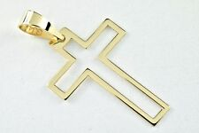Christian Cross Open Solid 10k Yellow Gold Reversible Style