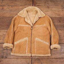"Mens Vintage Saks Sheepskin Leather Shearling Jacket Talon Zip M 42"" R4619"