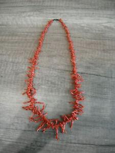 Rote Koralle Halskette Korallen Collier Antik 60 cm