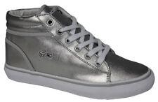 Lacoste Ladies Girls Kids Popstop GT Silver Ankle Boots Trainers, UK 4 EU 37