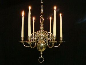 Rare Antique Dutch Brass Bronze 6 arm Chandelier 18th.C. for Candles