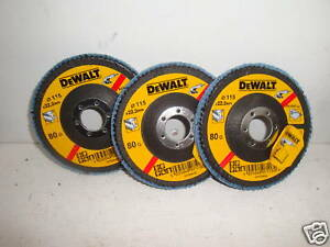 3 X DEWALT DT3257 115MM INOX ANGLE GRINDER SANDING FLAP DISCS 80GRIT