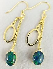 Genuine Triplet Opal Drop Hoop Earrings Dangling 18ct Gold Plated / Certificate