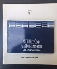 Porsche 911 Turbo 3.3 Carrera 3.2  My 1986 Libretto Uso e Manutenzione