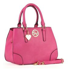 SALLY YOUNG Women's FUSCHIA PINK Heart Pendant GRAB/SHOULDER BAG Handbag