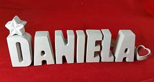 Beton, Steinguss Buchstaben 3D Deko Namen DANIELA als Geschenk verpackt!