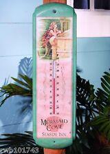 Mermaid metal THERMOMETER vintage rustic wall decor sign nautical bar coastal