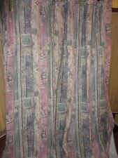 CROSCILL BENETELLO PASTEL MAUVE BLUE GOLD (PAIR) DRAPERY CURTAINS PANELS TUSCAN