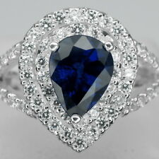 GORGEOUS! AAA KASHMIR BLUE SAPPHIRE MAIN STONE 2.2 CT. 925 SILVER RING SIZE 7