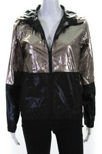 ALALA Womens Shiny Zip Up Hooded Raincoat Gold Size XS