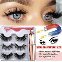 SKONHED 3 Pairs Magnetic Eyelashes With 1 Pc Magnetic Eyeliner w/Tweezer Set