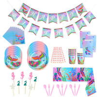 Mermaid Theme Disposable Tableware Garland Balloon Baby Shower Party Decoration