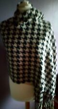 ladies black/taupe large  winter scarf/throwover in dogtooth design