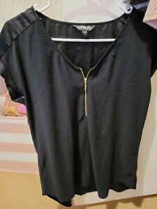 Lot Of 2 Women's Zip Up Express Brand Blouses size medium black and royal