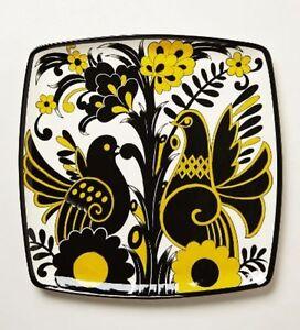 "Anthropologie Hand Painted Taiga Platter 1""H 16""W Large Black Yellow Platter"