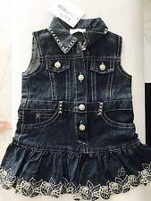Blumarine Designer Kids Girls Denim Swarovski Dress Overlay Skirt