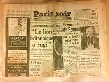 JOURNAL QUOTIDIEN / PARIS SOIR N° 183 / 01/07/1939 / DISCOURS DE LORD HALIFAX