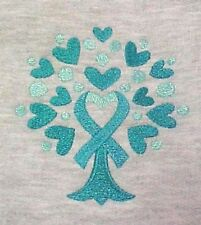 Teal Ribbon Sweatshirt 5XL Ovarian Cancer Awareness Tree Heart Gray Crew Neck