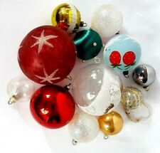 Christmas Ornaments 12 Vintage Large and Small Balls different Colors