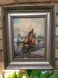Antique Sailboats in a Harbor Watercolor Painting on Paper. Framed