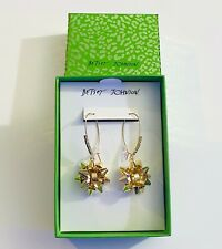 Betsey Johnson Gold Christmas Bow Dangle Hook Earrings Rhinestones Holiday