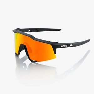 100% Speedcraft Sunglasses - Soft Tack Black - Hyper Red Multilayer Mirror Lens