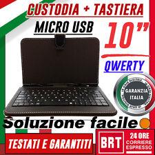 "CUSTODIA CON TASTIERA QWERTY PER TABLET 10"" 10.1"" MICRO USB NERA+STAFFA! BRT 24H"